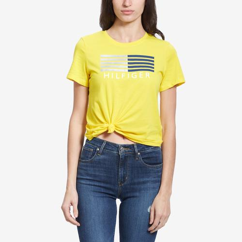 Front View of Tommy Hilfiger Women's Logo Knot Front Tee