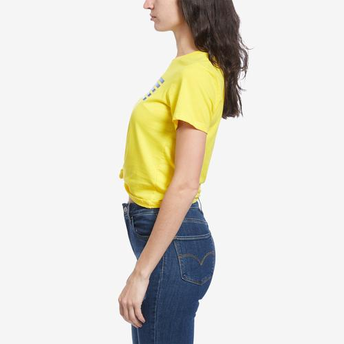 Right Side View of Tommy Hilfiger Women's Logo Knot Front Tee