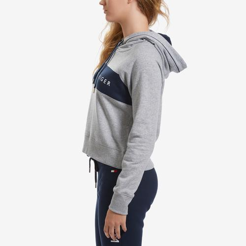 Left Side View of Tommy Hilfiger Women's Cropped Color Block Hoodie