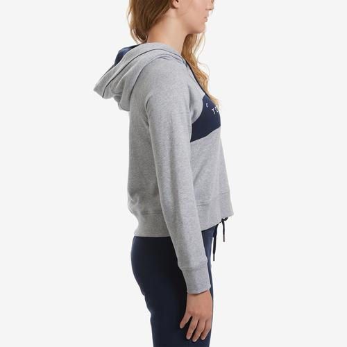 Right Side View of Tommy Hilfiger Women's Cropped Color Block Hoodie