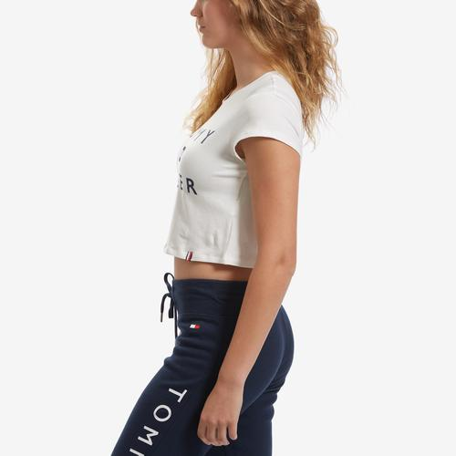 Left Side View of Tommy Hilfiger Women's Tommy Flag Cropped Tee