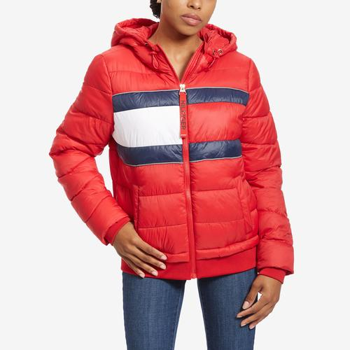 Front View of Tommy Hilfiger Women's Sport Quilted Colorblock Jacket