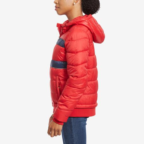 Left Side View of Tommy Hilfiger Women's Sport Quilted Colorblock Jacket