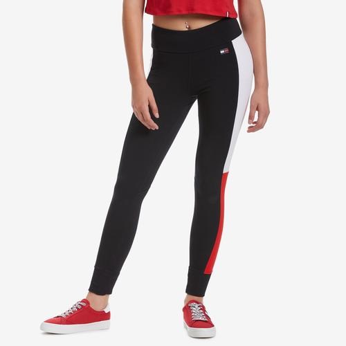 Front View of Tommy Hilfiger Women's Performance Colorblock Logo Leggings