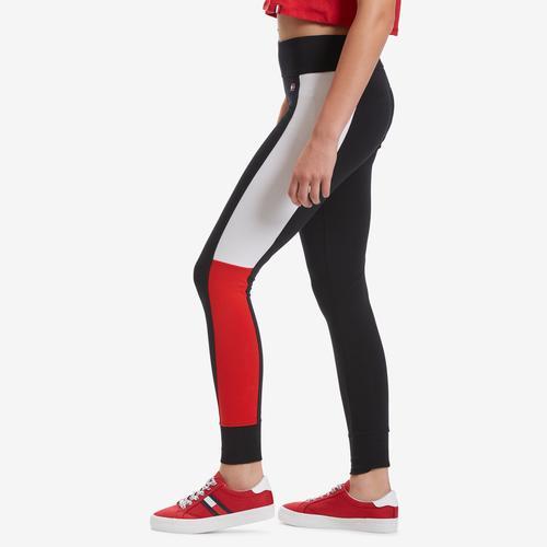 Left Side View of Tommy Hilfiger Women's Performance Colorblock Logo Leggings