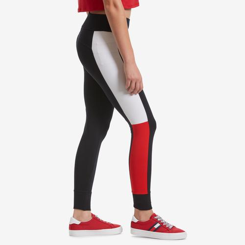 Right Side View of Tommy Hilfiger Women's Performance Colorblock Logo Leggings