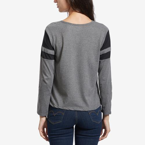 Back View of Freeze Women's Back To The Future Stripe Sleeve T-Shirt