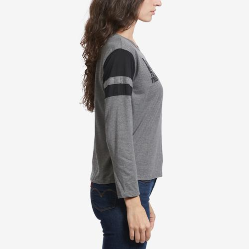 Left Side View of Freeze Women's Back To The Future Stripe Sleeve T-Shirt