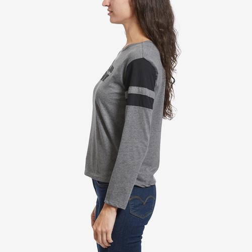 Right Side View of Freeze Women's Back To The Future Stripe Sleeve T-Shirt