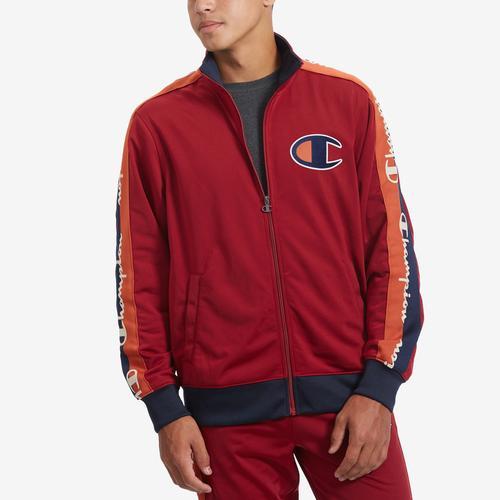 Front View of Champion Men's Life Track Jacket, Chain Stitch Big C Logo