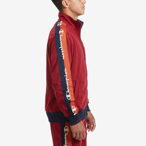 Right Side View of Champion Men's Life Track Jacket, Chain Stitch Big C Logo