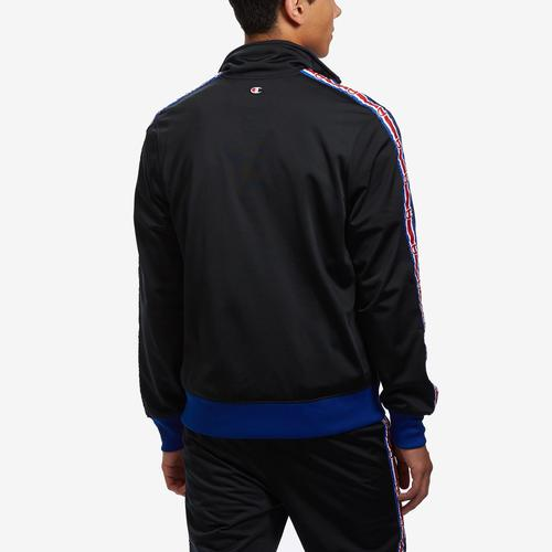 Back View of Champion Men's Life Track Jacket, Chain Stitch Big C Logo