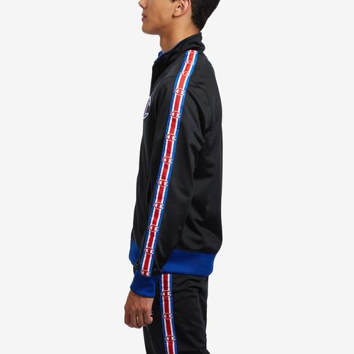 Left Side View of Champion Men's Life Track Jacket, Chain Stitch Big C Logo