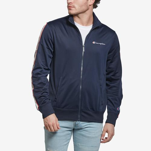 Front View of Champion Men's Champion Track Jacket, Vertical Logo
