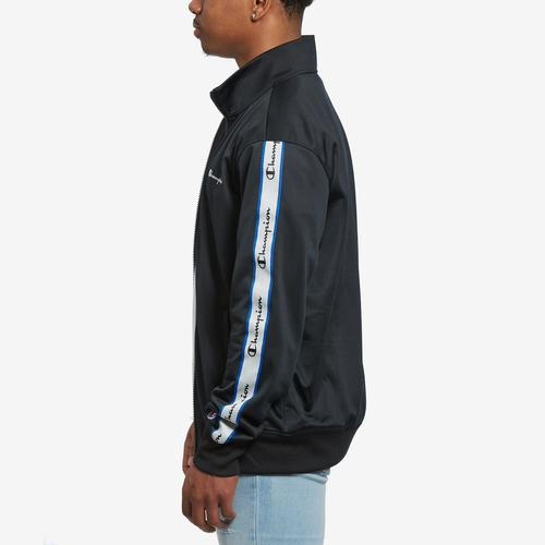 Right Side View of Champion Men's Track Jacket, Vertical Logo