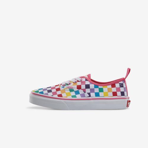 Left Side View of Vans Boy's Preschool Rainbow Classic Checker Slip-On Sneakers