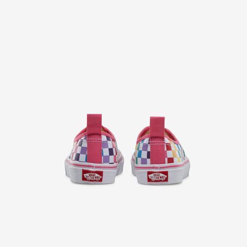 Back View of Vans Boy's Preschool Rainbow Classic Checker Slip-On Sneakers