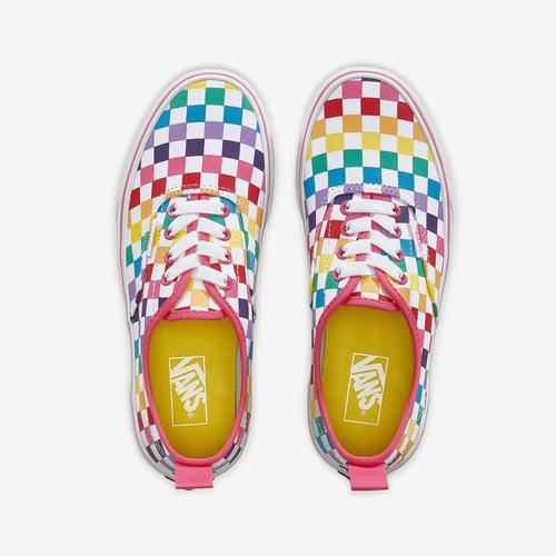 Bottom View of Vans Boy's Preschool Rainbow Classic Checker Slip-On Sneakers