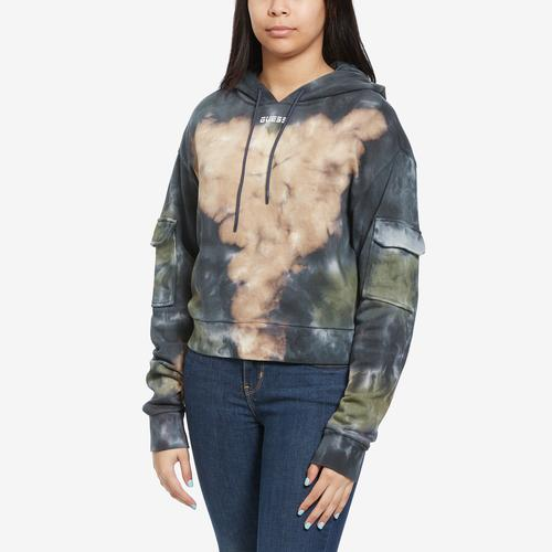 Front View of Guess Women's Tie-Dye Cropped Logo Hoodie
