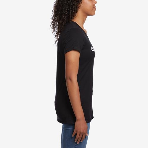 Right Side View of Champion Women's Jersey V-Neck Tee, White Logo