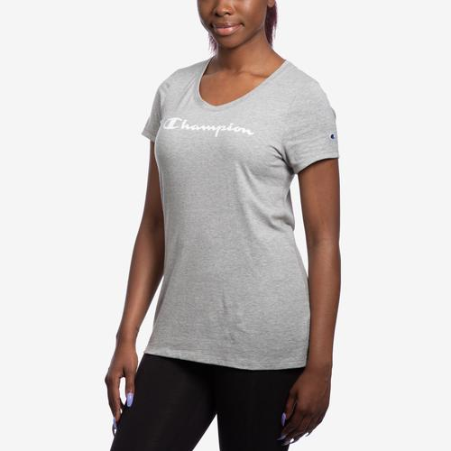 Front View of Champion Women's Jersey V-Neck Tee, White Logo