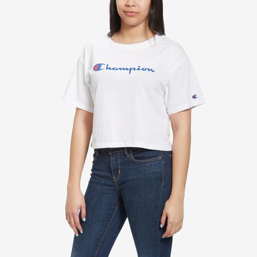 Front View of Champion Women's Cropped Tee, Script Logo