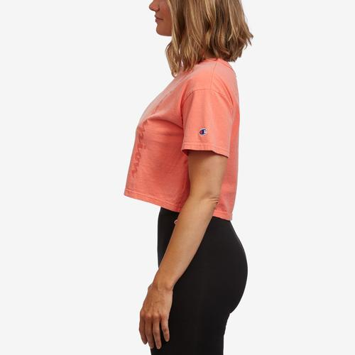 Left Side View of Champion Women's Cropped Tee- Garment Dyed