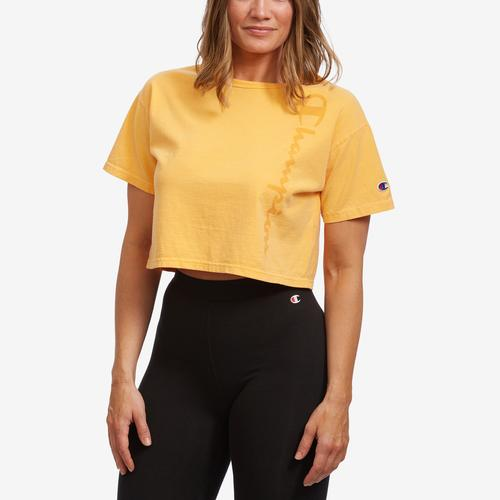 Front View of Champion Women's Cropped Tee- Garment Dyed