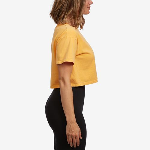 Right Side View of Champion Women's Cropped Tee- Garment Dyed