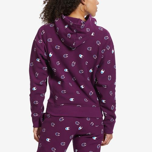 Champion Women's Life Reverse Weave Pullover Hood, All-over Logo