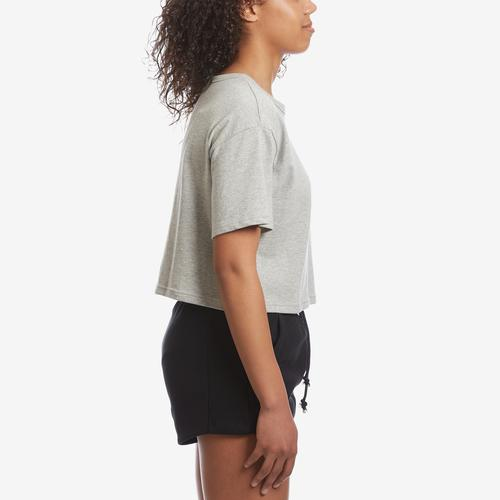 Right Side View of Champion Women's Life Crop Tee, Script Logo