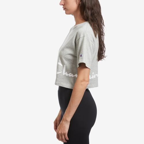 Left Side View of Champion Women's Life Crop Tee, Shadow C
