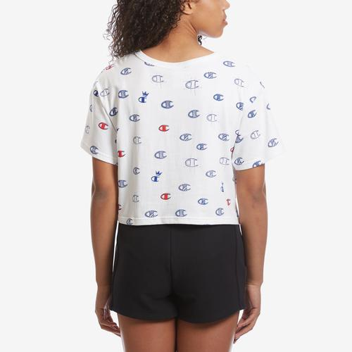 Champion Women's Life Crop Tee, Allover Logo Print