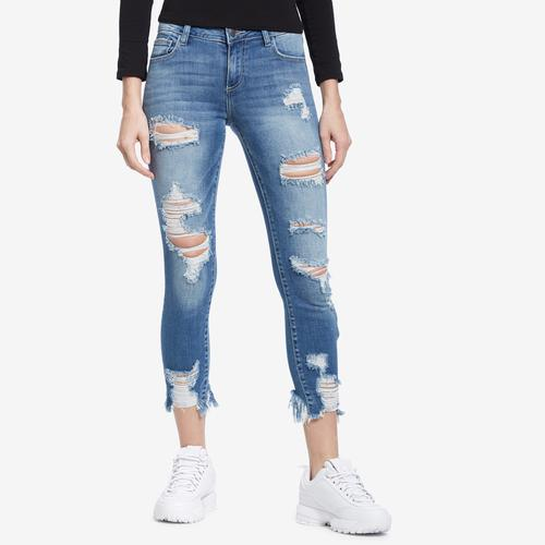 Front view of Woman wearing Cello Brand Distressed Crop Frayed Hem Skinny Jeans
