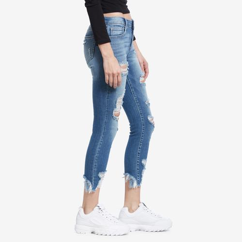 Right Side view of Woman wearing Cello Brand Distressed Crop Frayed Hem Skinny Jeans
