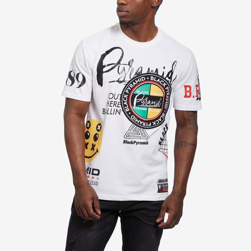 Front View of BLACK PYRAMID Men's World Famous Logo Tee