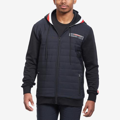 Front View of BLACK PYRAMID Men's Quilted Nylon Panel Hoody