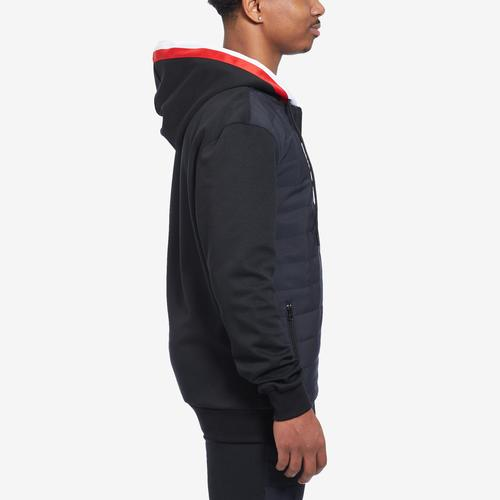 Left Side View of BLACK PYRAMID Men's Quilted Nylon Panel Hoody