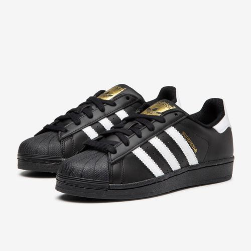 Side Angle View of adidas Boy's Grade School Superstar Sneakers