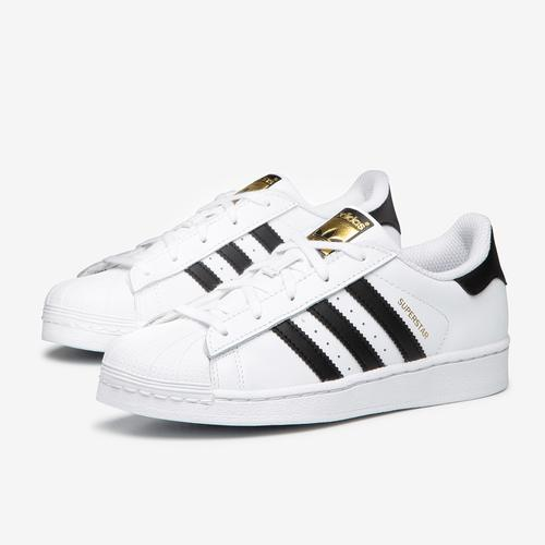 Side Angle View of adidas Boy's Preschool Superstar Sneakers