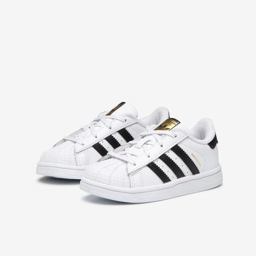 Side Angle View of adidas Boy's Toddler Superstar Sneakers